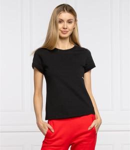 Czarny t-shirt Calvin Klein z okrągłym dekoltem w stylu casual