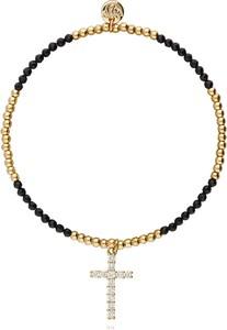 Simplicity Bransoletka z czarnymi onyksami ze złotym krzyżem BSC0686