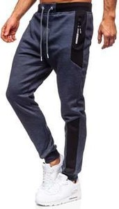 Granatowe spodnie sportowe Denley z bawełny