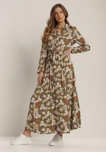 Brązowa sukienka Renee z długim rękawem maxi