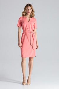 Różowa sukienka Figl midi z krótkim rękawem z dekoltem w kształcie litery v