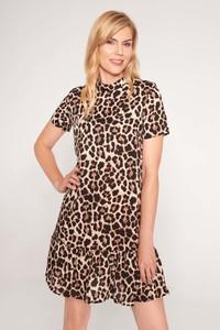 Brązowa sukienka QUIOSQUE w stylu casual mini