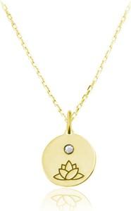 Lian Art Naszyjnik srebrny z lotosem i kryształkiem Swarovski® - 24k złocenie