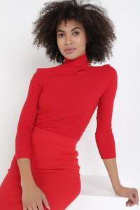 Czerwona bluzka born2be z golfem w stylu casual