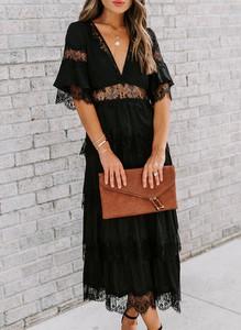 Czarna sukienka Cikelly w stylu boho maxi