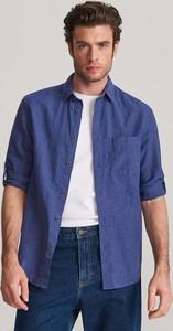 Niebieska koszula Reserved z długim rękawem z bawełny