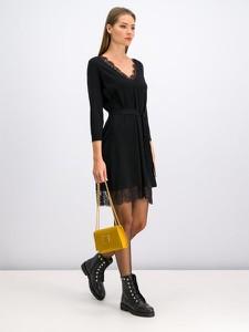Czarna sukienka Twinset rozkloszowana mini z długim rękawem