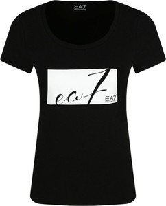 Czarny t-shirt EA7 Emporio Armani z okrągłym dekoltem