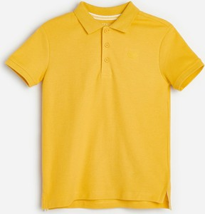 Żółta koszulka dziecięca Reserved z krótkim rękawem z bawełny