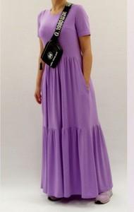 Sukienka Mm Fashion maxi z tkaniny z krótkim rękawem