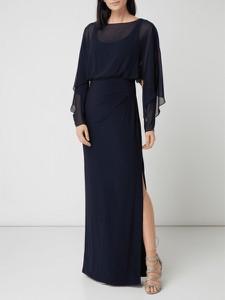 Granatowa sukienka Lauren Ralph Lauren z okrągłym dekoltem z szyfonu