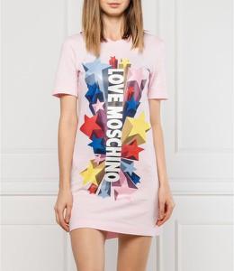 Sukienka Love Moschino z nadrukiem z krótkim rękawem prosta