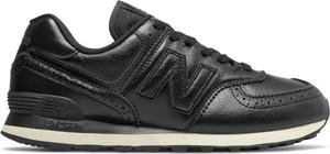 Czarne buty sportowe New Balance ze skóry 574 w street stylu