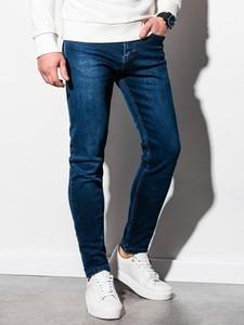 Niebieskie spodnie Ombre z jeansu