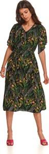 Sukienka Top Secret midi z dekoltem w kształcie litery v koszulowa