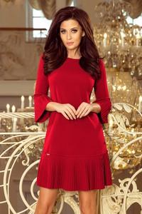 Czerwona sukienka NUMOCO z okrągłym dekoltem