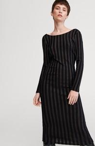 Czarna sukienka Reserved z długim rękawem prosta