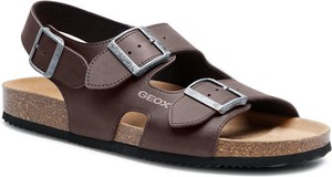 Brązowe buty letnie męskie Geox ze skóry z klamrami