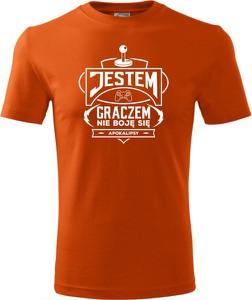 Pomarańczowy t-shirt TopKoszulki.pl w młodzieżowym stylu z krótkim rękawem z bawełny
