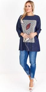 Bluzka Jackard z okrągłym dekoltem w stylu casual