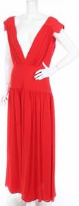 Czerwona sukienka Jarlo z dekoltem w kształcie litery v