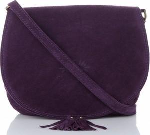 Fioletowa torebka VITTORIA GOTTI przez ramię ze skóry w stylu casual