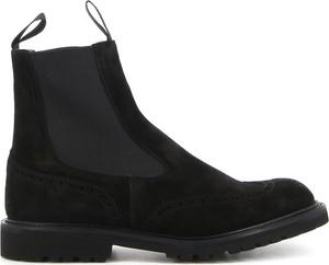 Czarne buty zimowe Tricker`s ze skóry