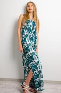 Niebieska sukienka Olika z okrągłym dekoltem bez rękawów