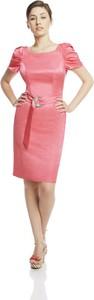 Różowa sukienka Fokus midi z tkaniny w stylu glamour