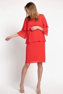 Czerwona sukienka Cotton Club z długim rękawem z tkaniny