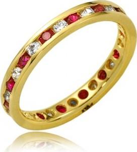 Hosa Złota obrączka z cyrkoniami i rubinami (próba 333)