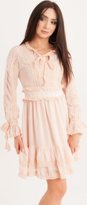 Różowa sukienka Butik Ecru rozkloszowana