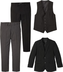 Czarny garnitur bonprix