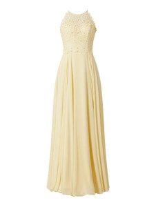 Żółta sukienka Luxuar rozkloszowana maxi z szyfonu