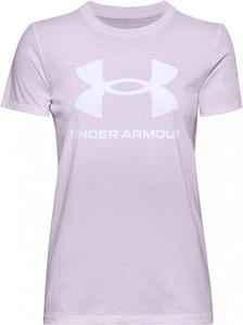 Fioletowa bluzka Under Armour z bawełny z krótkim rękawem z okrągłym dekoltem