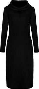 Czarna sukienka Nife z golfem z długim rękawem