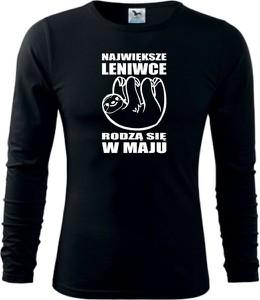 Czarna koszulka z długim rękawem TopKoszulki.pl z bawełny z długim rękawem