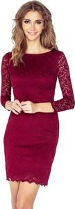 Czerwona sukienka NUMOCO z okrągłym dekoltem z długim rękawem