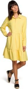 Sukienka MOE z lnu z długim rękawem koszulowa