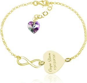 Lian Art Srebrna bransoletka z serduszkiem i infinity Laura - 24k złocenie
