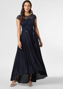 Granatowa sukienka Swing maxi z okrągłym dekoltem asymetryczna