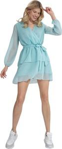 Niebieska sukienka Figl z szyfonu
