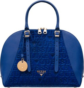 Niebieska torebka Guess Luxe do ręki ze skóry