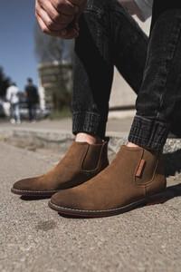 Brązowe buty zimowe Cross Jeans ze skóry