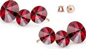 GIORRE SREBRNE POTRÓJNE KOLCZYKI SWAROVSKI RIVOLI 925 : Kolor kryształu SWAROVSKI - Siam, Kolor pokrycia srebra - Pokrycie Różowym 18K Złotem