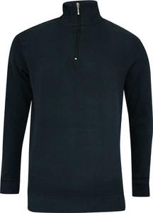 Granatowy sweter Pako Jeans ze stójką z jeansu