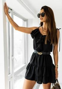 Czarna sukienka Latika mini rozkloszowana
