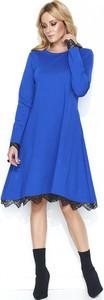 Niebieska sukienka Makadamia z długim rękawem rozkloszowana