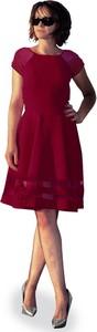 Sukienka Camill Fashion z krótkim rękawem z tiulu z okrągłym dekoltem