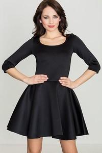 Granatowa sukienka LENITIF z długim rękawem z okrągłym dekoltem rozkloszowana